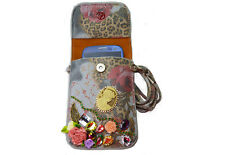 Light Blue Leather Pouch with Floral Pattern & Rhinestones Birthday Gift For Her
