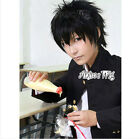 Short Black Hitman Reborn Xanxus Anime Layered Men Women Cosplay Hair Wig+Cap