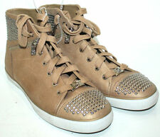 MICHAEL KORS BOERUM  HIGH TOP STUDDED LEATHER SNEAKERS LIGHT BROWN WOMEN  SIZE 9