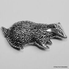 Badger Pewter Brooch Pin - British Artisan Signed Badge- Brock Farming Hunting