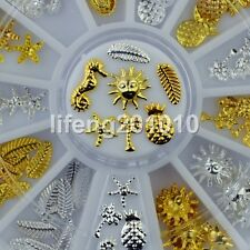 3D Metal Nail Art Decoration Accessories Wheel Silver Gold Summer Beauty Tools