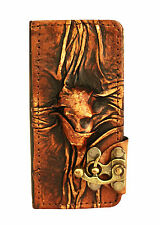 Scarfed Woman iPhone 5 5S Case Handmade Vintage Leather Flip Wallet Cover