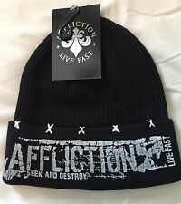 Affliction Black Beanie Knit Cap Hat Retail $45 NWT Free Shipping UFC MMA