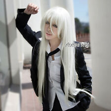 HITMAN REBORN! Superbia·Squalo 100CM Long White Straight Halloween Cosplay Wig
