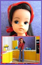 Vintage doll, Sindy , with her yellow kitchen, 5 pieces, dollhouse Furniture