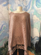 WOMAN WITHIN PLUS 4X NEW BROWN OPEN WORK MESH HEM LONG SLEEVE TUNIC SWEATER