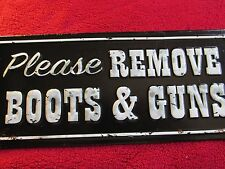 BOOTS & GUNS SHOES TIN SIGN HOME STORE CAFE WALL DECOR EMBOSSED RAISED METAL