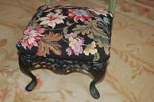 Gorgeous VTG Roses Floral French Needlepoint FootStool Ottoman Cast Iron Base