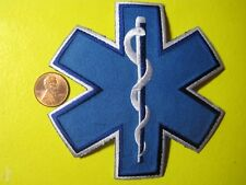 STAR OF LIFE PATCH 4 x 4 INCH BLUE MEDIC FIRST RESPONDER EMT PARAMEDIC CUTOUT*