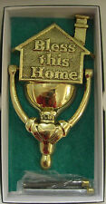 Irish Brass Hand Crafted BLESS THIS HOME KNOCKER WITH CLADDAGH