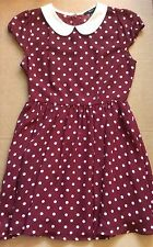 New! Forever 21 Red Dot Dress White Peter Pan Collar Vintage Style Medium Women