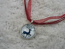 Silvertone Elk Deer Glass Pendant Red Voile Ribbon Necklace (C12)