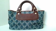 Authentic Celine Boogie Bag Tote Bag Blue Jacquard Brown Leather