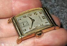 VINTAGE 14K GOLD MENS 1950'S HAMILTON MANUAL WIND WATCH CURVED GLASS RUNS
