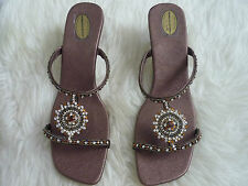 Womens indian wedding style healed sparkly shoes london footwear silver brown 7