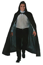 Black Hooded Cape Adult Mens Costume One Size Vampire Witch Halloween Dress Up