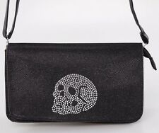 Iron Fist Womens Rhinestone Skull Addition Purse Handbag  Black Shoulder Bag