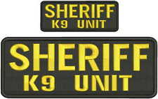 Sheriff k9 unit embroidery patches 4x10 and 2x5 hook on back gold and black