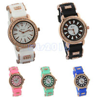 Women Luxury Crystal Jelly Dial Geneva Silicone Crystal Band Quartz Wrist Watch