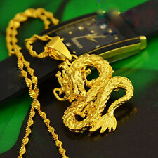Royal Dragon Pendant Necklace Chain Solid Women Lucky Men 24K Yellow Gold Filled