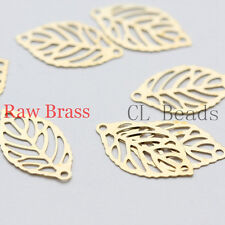 80 Pieces Raw Brass Filigree Laser Cut Leaf Charm - Link 18x10mm (1858C-U-89)