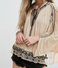 Free People 'Eden' Embroidered Peasant Top M