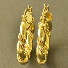 Yellow Gold Filled cute Twisted Womens small round Hoop Earrings childrens gift
