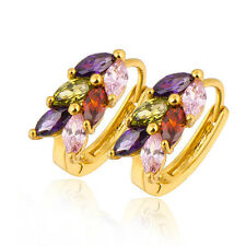 Lovely 9K Gold Filled Colourful CZ Women's Hoop Earring Nickel Free 14E0772