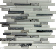 SAMPLE- Gray White Glass Natural Stone Linear Mosaic Tile Kitchen Backsplash Spa