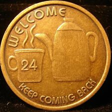 COFFEE 24 WELCOME Bronze Alcoholics Anonymous AA Medallion token Chip Coin Sober