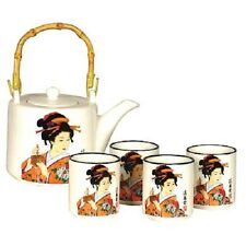 White Japanese Lady - Oriental Chinese Teapot & 4 Teacups Teaset, Tea Set  MA