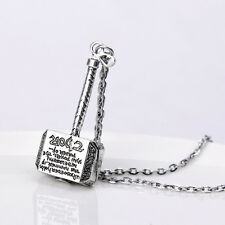 Fantasy Adventure Superhero FILM Retro Alloy Thor Hammer Pendant Necklace COSPLA