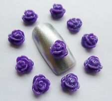 "3D Nail Art Acrylic Flowers ""Roses"" Pinks/White/Black/Red/Mix Nail Craft x 10pcs"