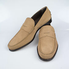 NIB. TOD'S Tan Brown Suede Leather Penny Loafers Casual Shoes 9 $550