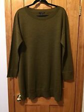 $228 NWT EILEEN FISHER GOLD LEAF MERINO JERSEY LONG SWEATER TUNIC L