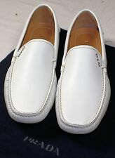 PRADA SHOES WHITE SAFFIANO LEATHER LOGO SCRIPT ORNAMENTED DRIVER 9.5 42.5 NEW