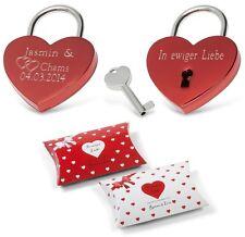 Herz Liebesschloss ROT Valentinstag Hochzeit  mit Geschenkbox Liebes Verpackung