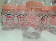 12 Pink baby bottle center piece BabyShower PLASTIC DIY -OWL