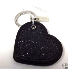COACH Heart Key Ring Leather Glitter Black Key Fob Charm Accessory 64352 NWT