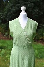 Original 1930s pale lime green gingham print dress shell buttons