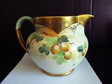 ANTIQUE LIMOGES PITCHER HAND PAINTED GOLD & GOOSEBERRY PICKARD ARTIST F.WALTER
