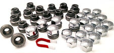 20 x alloy wheel nuts bolts M14x2, 21mm Hex Flat Seat + Chrome caps Ford Transit