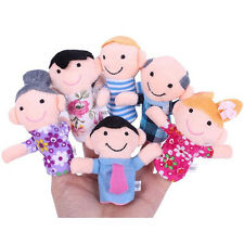 6PC Baby Kids Plush Cloth Play Game Learn Story Family Finger Puppets Toys Set