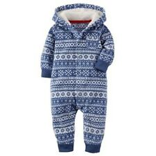 Carter's Blue Fair Isle One-Piece Fleece Jumpsuit Outfit Infant Boy 6 Months NEW
