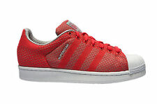 NIB! Adidas S77929 Men's Superstar Weave Pack Shoes Sneakers Red White, 10