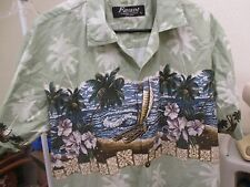 Men's Hawaiian Style Shirt- Button Front- Hawaiian Scene w/ Tiki & Dugout Canoes