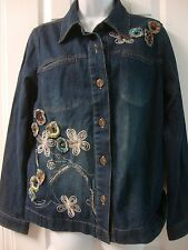Womens CHRISTOPHER & BANKS flower embroidered jean jacket, sz M