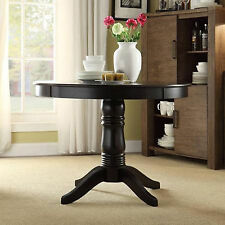 Round Dining Table Pedestal Black Solid Wood Oval Room Contemporary Style New