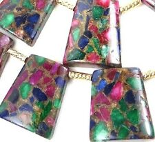 30mm Ruby Sapphire Emerald in Quartz with Pyrite Ladder Trapezoid Pendant Beads
