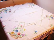 Vintage 40-50s Linen Tablecloth 46x46 Sq Hand Embroidered Floral EASTER BASKETS